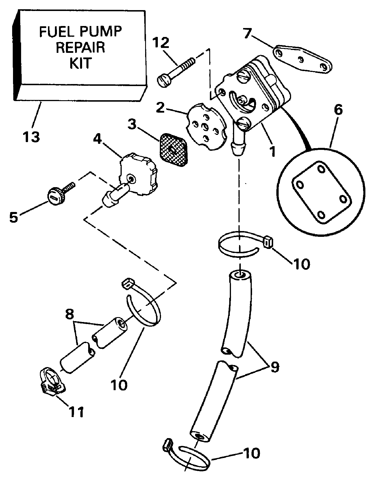 Johnson 15 Fuel Pump Diagram Wiring Schematics 1988 9 Hp Outboard Parts Brp Evinrude En 1990 E15resr Rope Diaphragm
