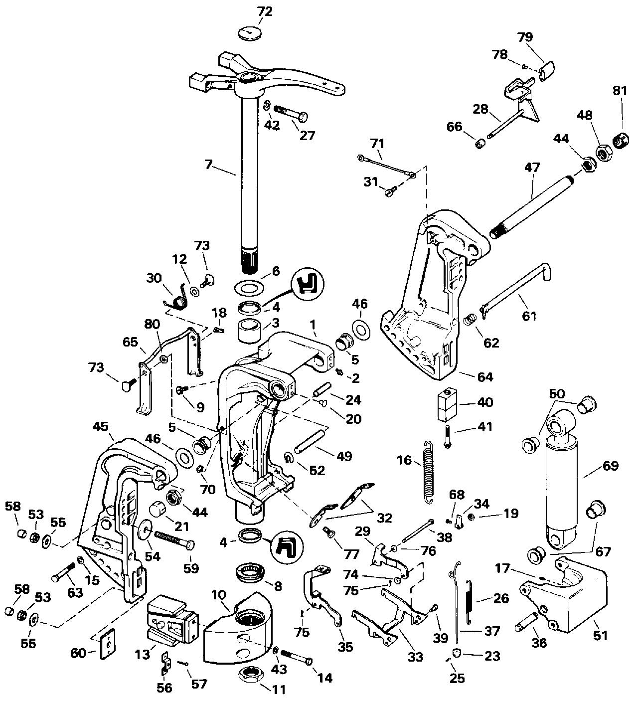 brp johnson en 1993 115 j115tlets 1993 stern bracket rh vansoutboardparts com johnson manual tilt assist cable johnson manual tilt lock