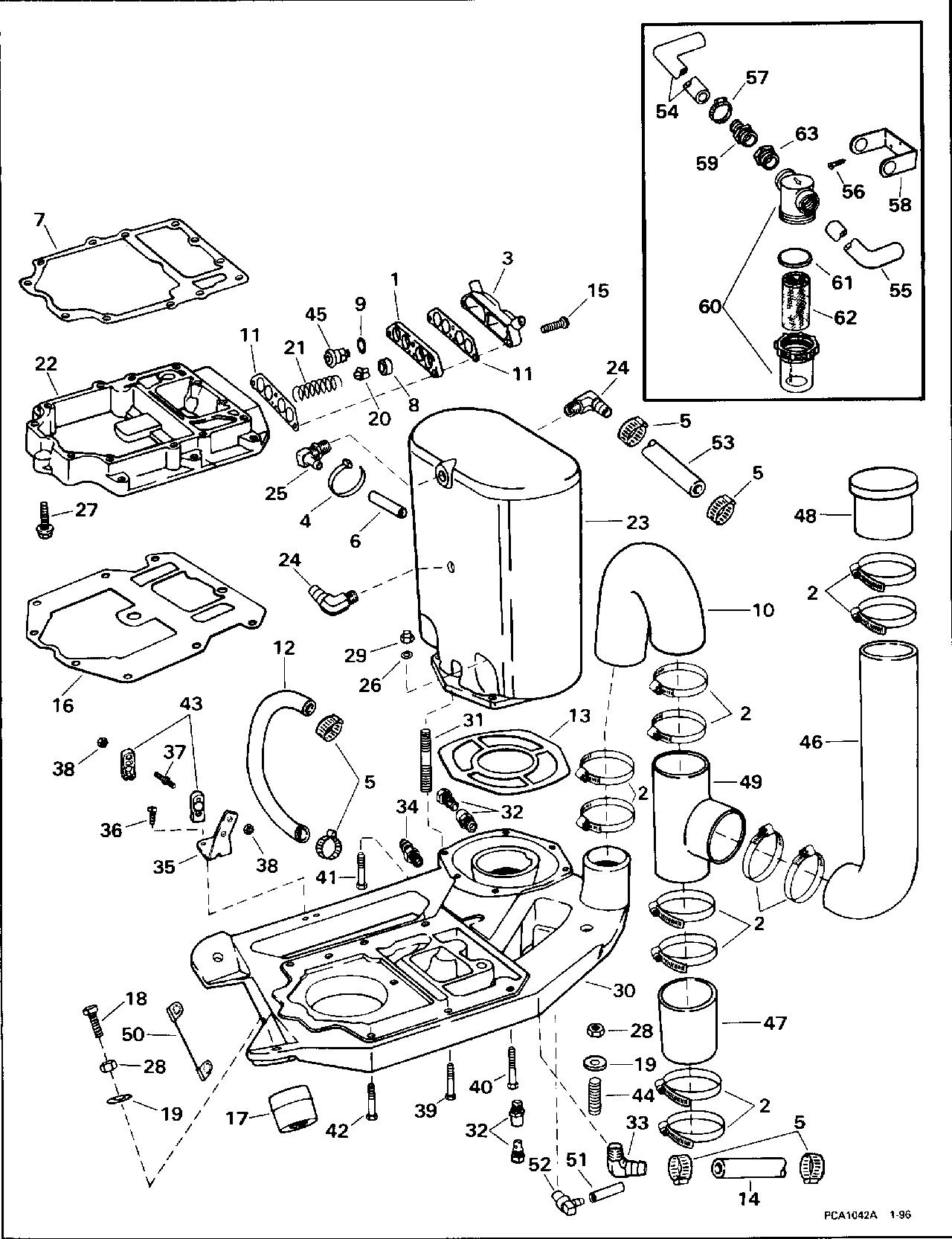 [ANLQ_8698]  BRP | TURBOJET | 1996 | 115 | 115TJEDB 1996 | ADAPTER & MUFFLER - Evinrude /Johnson/OMC outboard motor parts - Van's Sport Center | Wiring Diagram Omc 115 Turbojet |  | Van's Sport Center
