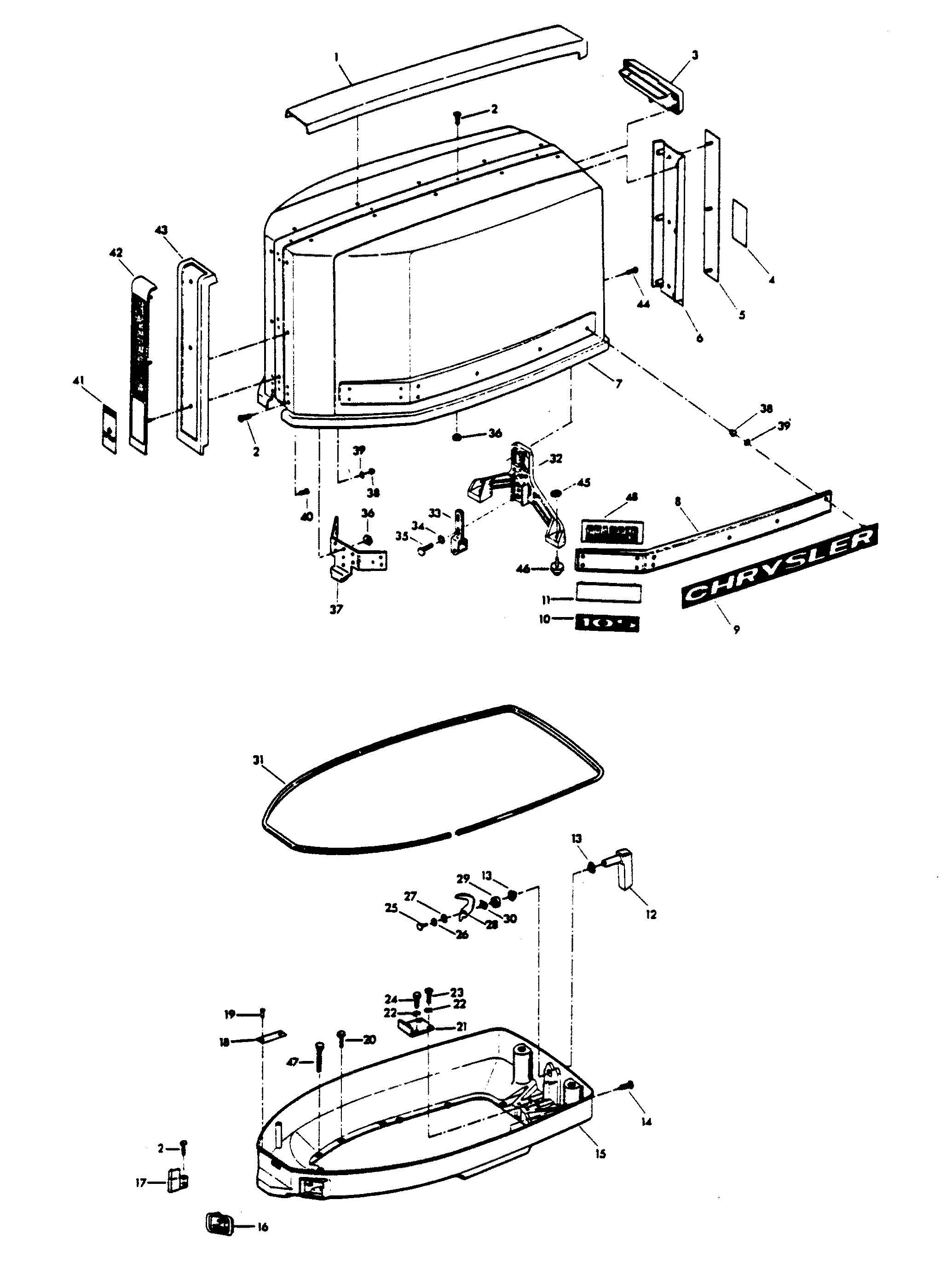 Mercury Chrysler 105 1976 1055ba Engine Cover And Support 2 7 Diagram Plate