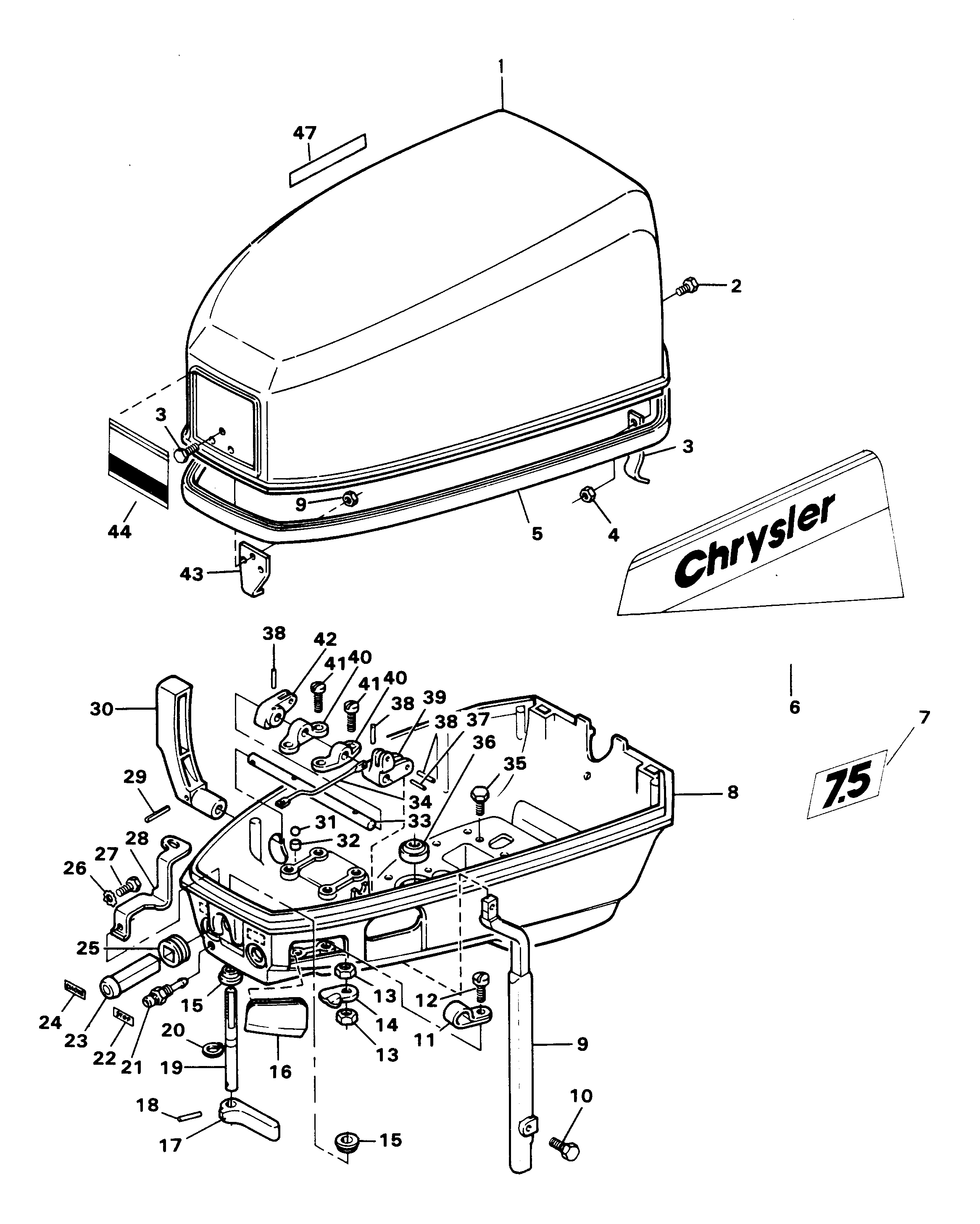 Mercury Chrysler 75 1981 72h1d Engine Cover And Support 2 7 Diagram Plate