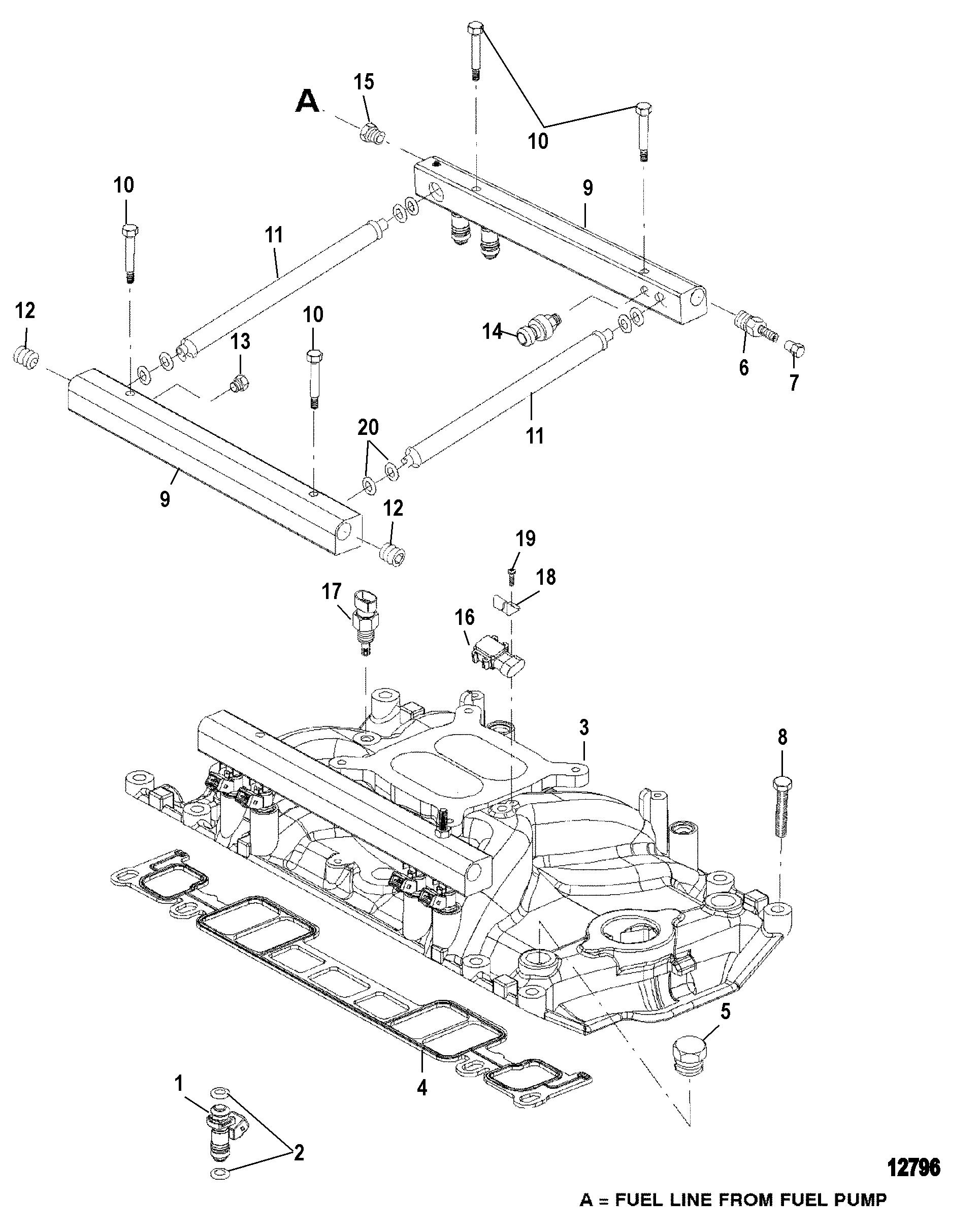 Fuel Injected 350 Mercruiser Engine Diagram Mercury Mag Mpi Alpha Bravo 0l331599 Thru Rh Vansoutboardparts Com Pump Trim