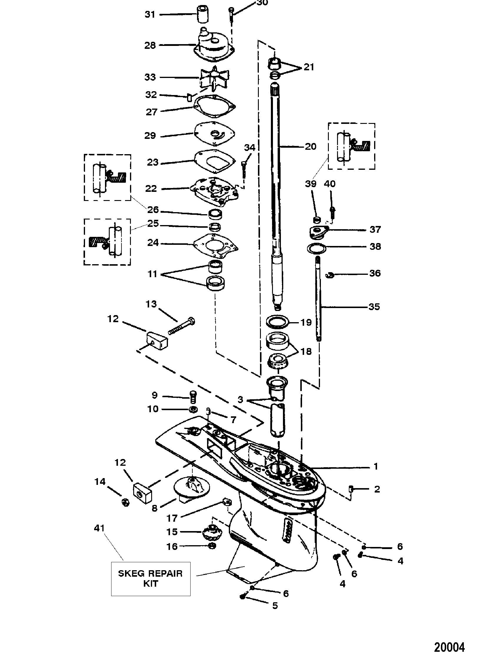 Mercury | FORCE | 90 H.P. (1997) | 0E203000 THRU 0E287999 | Gear Housing  Assembly(Driveshaft) (3 Jaw Reverse Clutch)