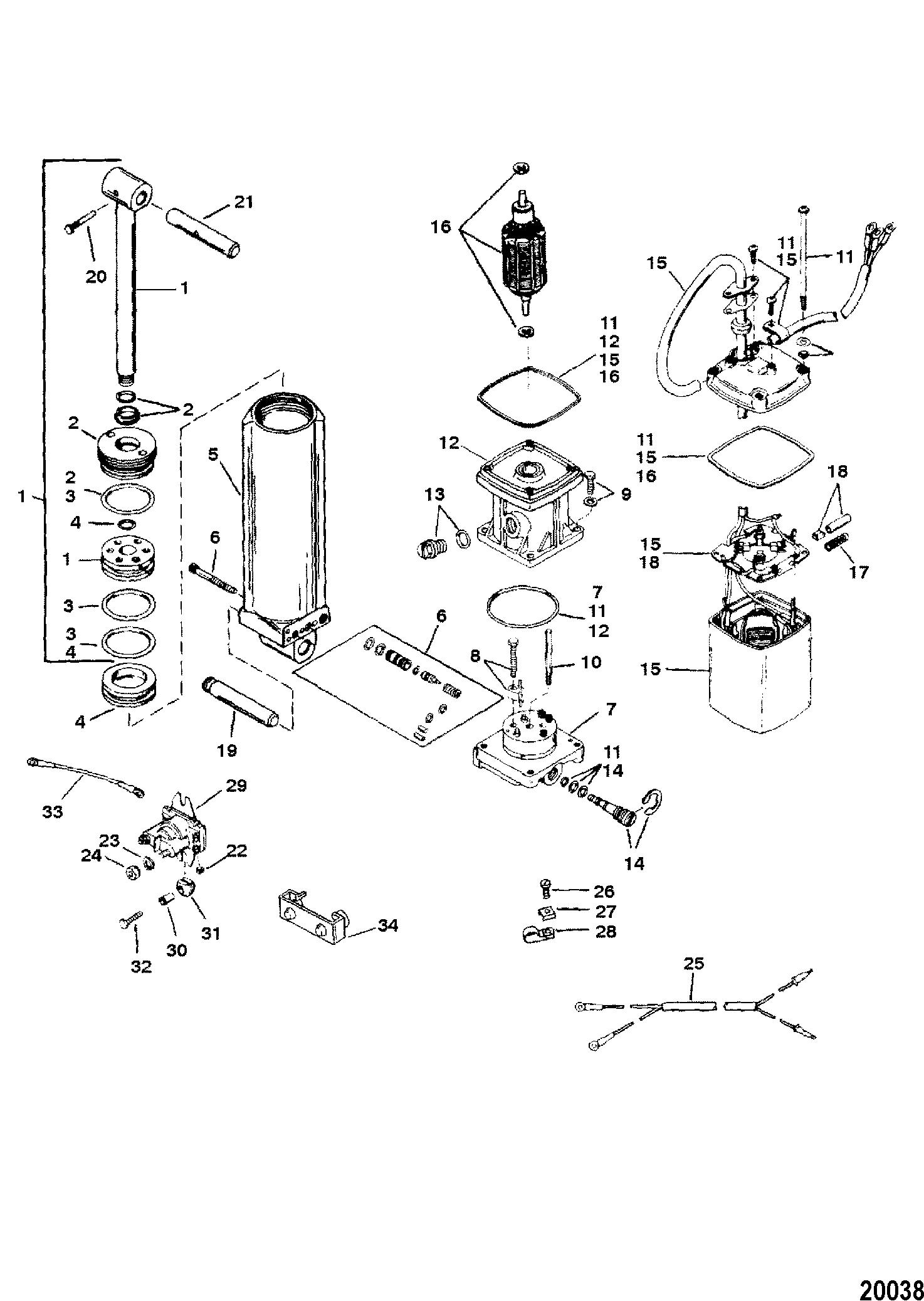 Mercury | FORCE | 120 H.P. (1997) | 0E203000 THRU 0E287999 | Power Trim  Components(Design I)