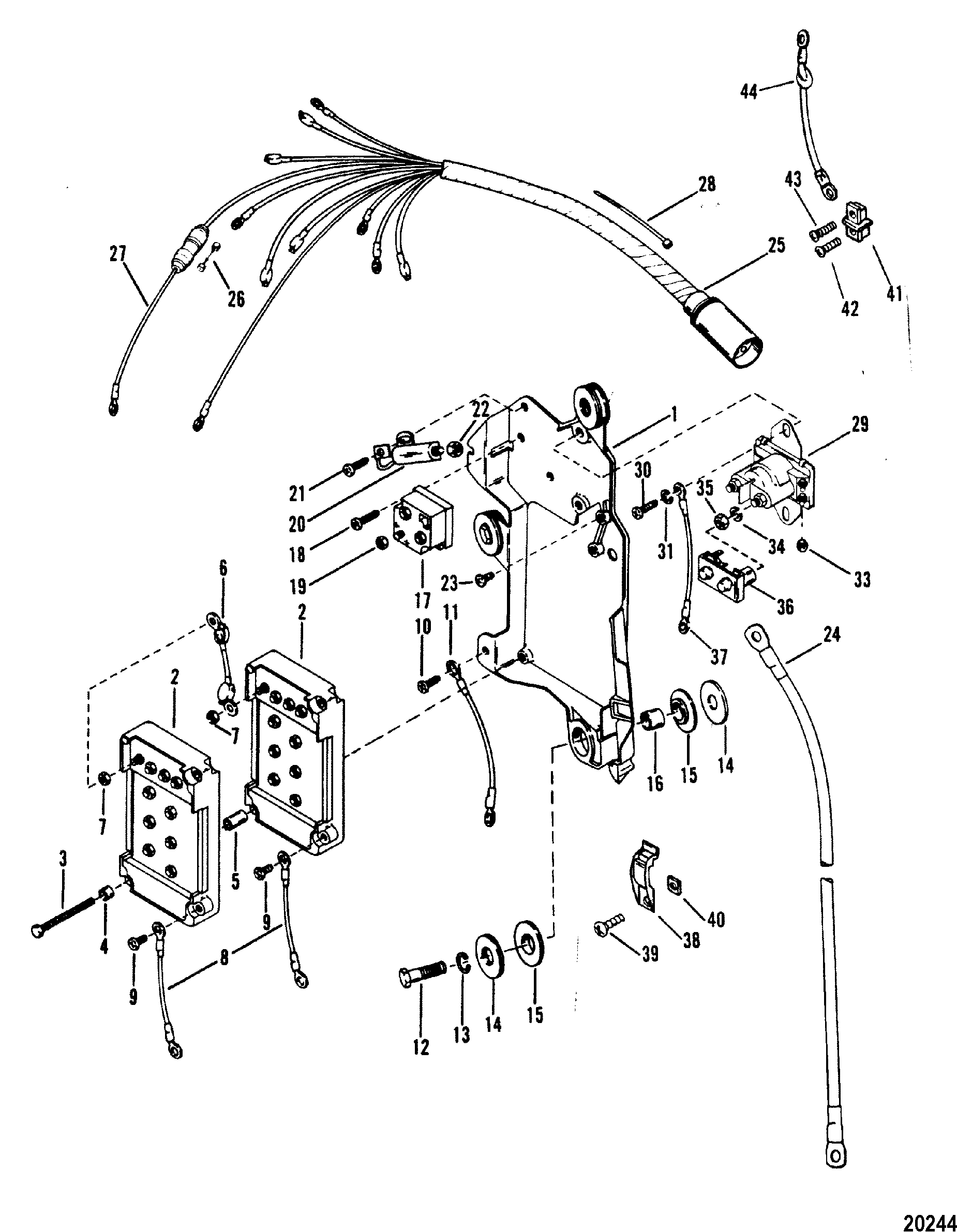 Mercury Mariner V 150 5600162 Thru 0a904645 Wiring Harness Merc Starter Solenoid And Rectifier