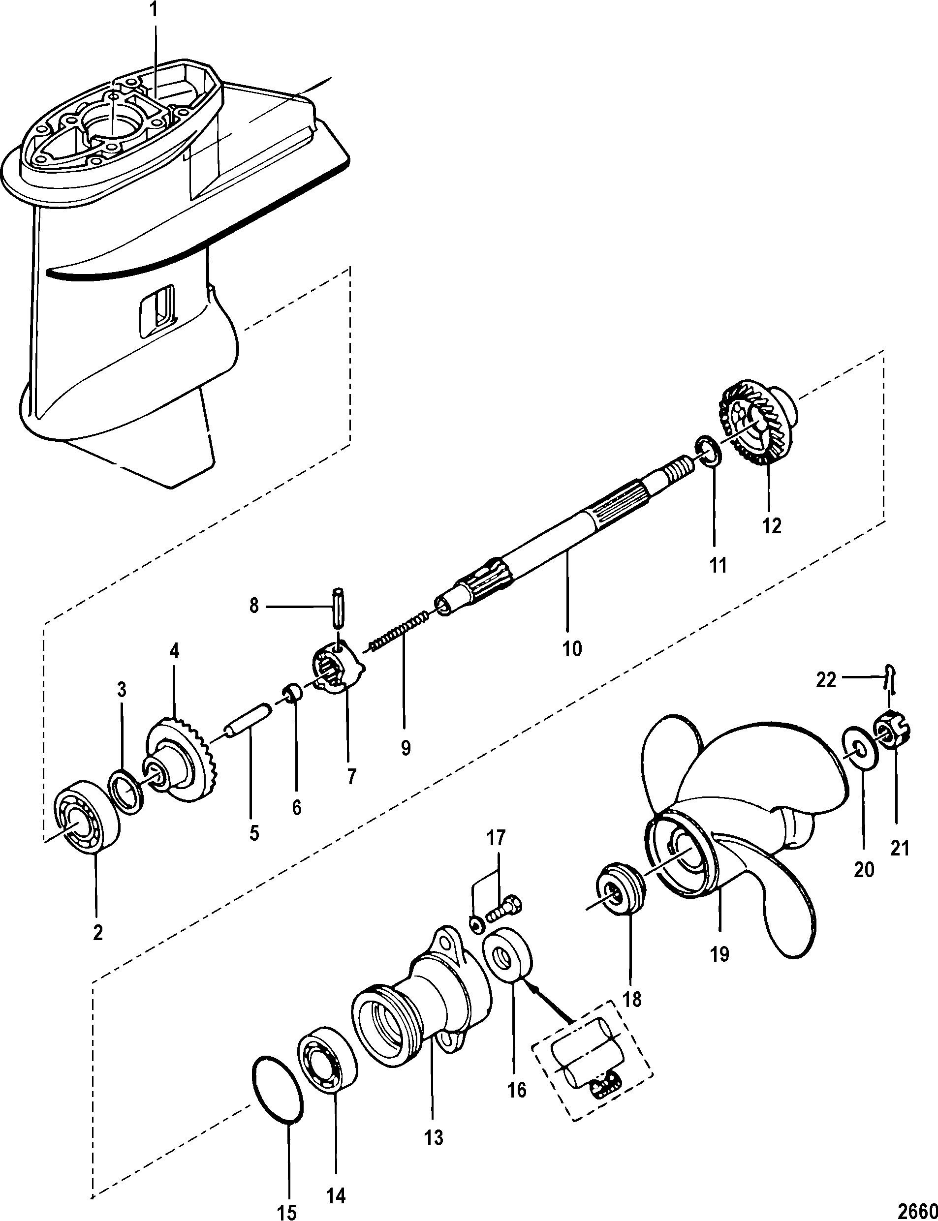 Mercury | MERCURY | 9.9 (4-STROKE)(209cc) | 0R042475 & Up | Gear Housing,  Propeller Shaft-Non Bigfoot