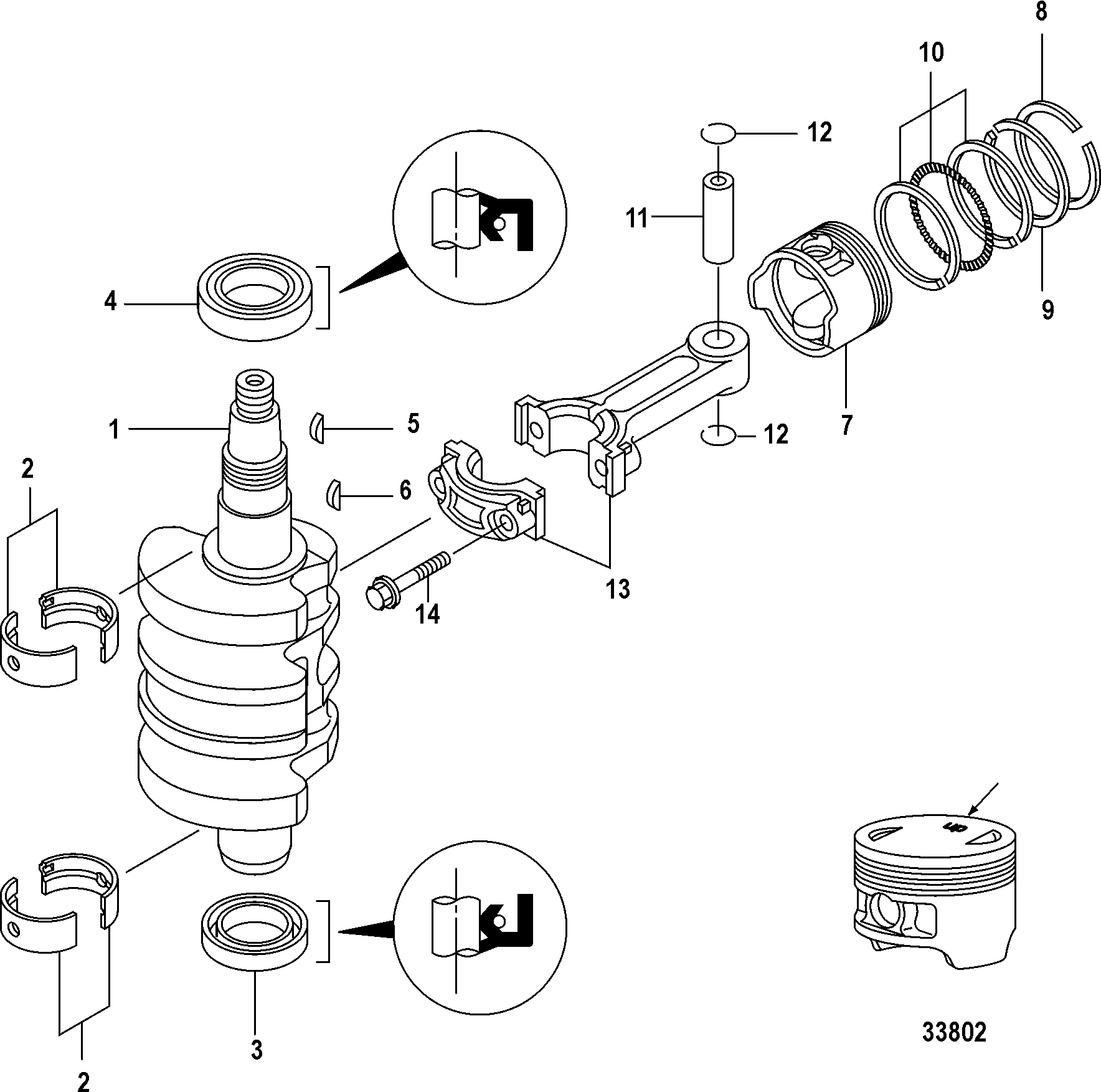 Mercury Mariner 20 Carb2cyl4 Stroke 0r235168 Up 302 Engine Diagram Piston Crankshaft Pistons And Connecting Rods