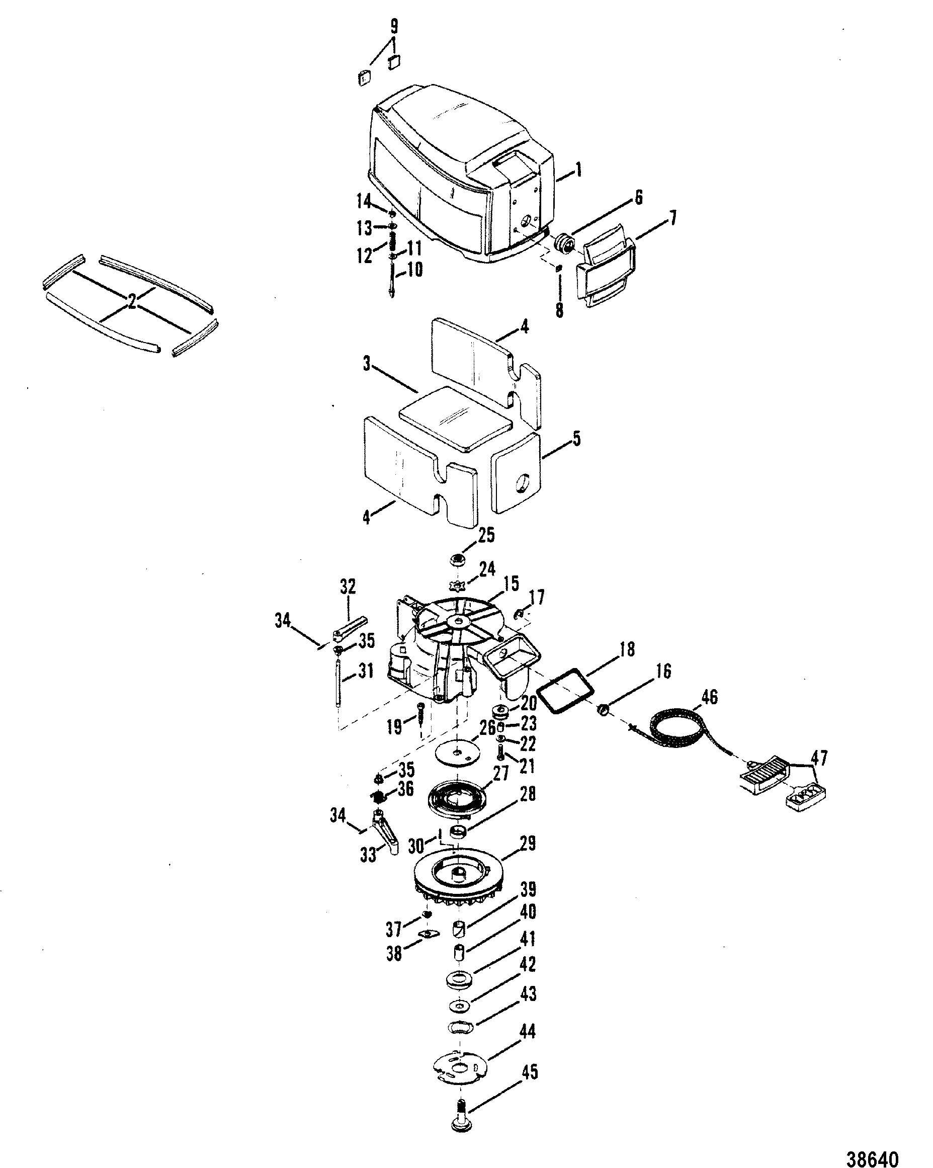 Mercury 98 Outboard Motor Diagram Electrical Wiring Diagrams 402 9 8 5206550 Up Top Cowl And Starter Control