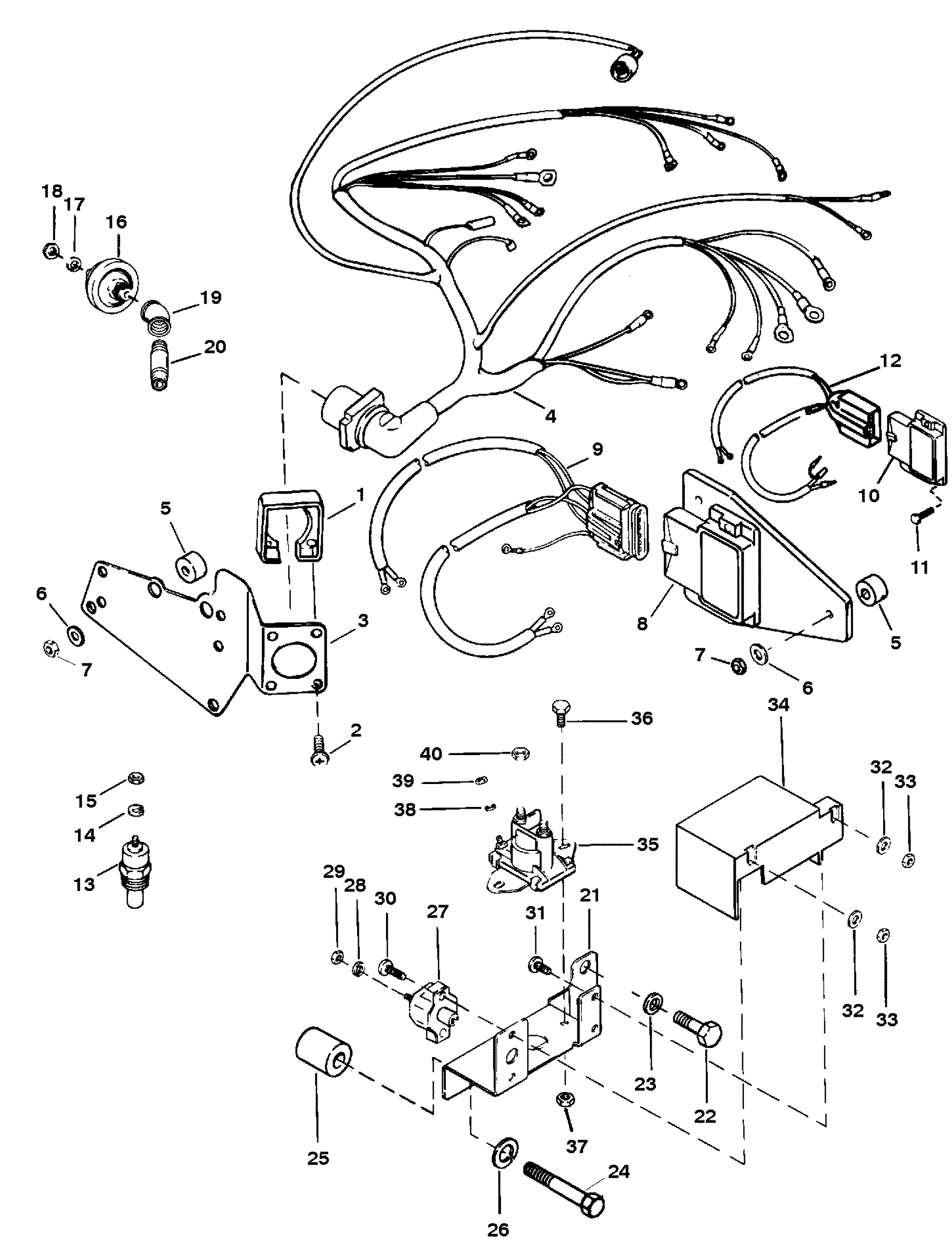 mercury mercruiser 5 7l mie gm 350 v 8 1994 1995 0f622151 thru mercruiser 120 wiring -diagram mercury mercruiser 5 7l mie gm 350 v 8 1994 1995 0f622151 thru 0f746099 wiring harness and electrical components