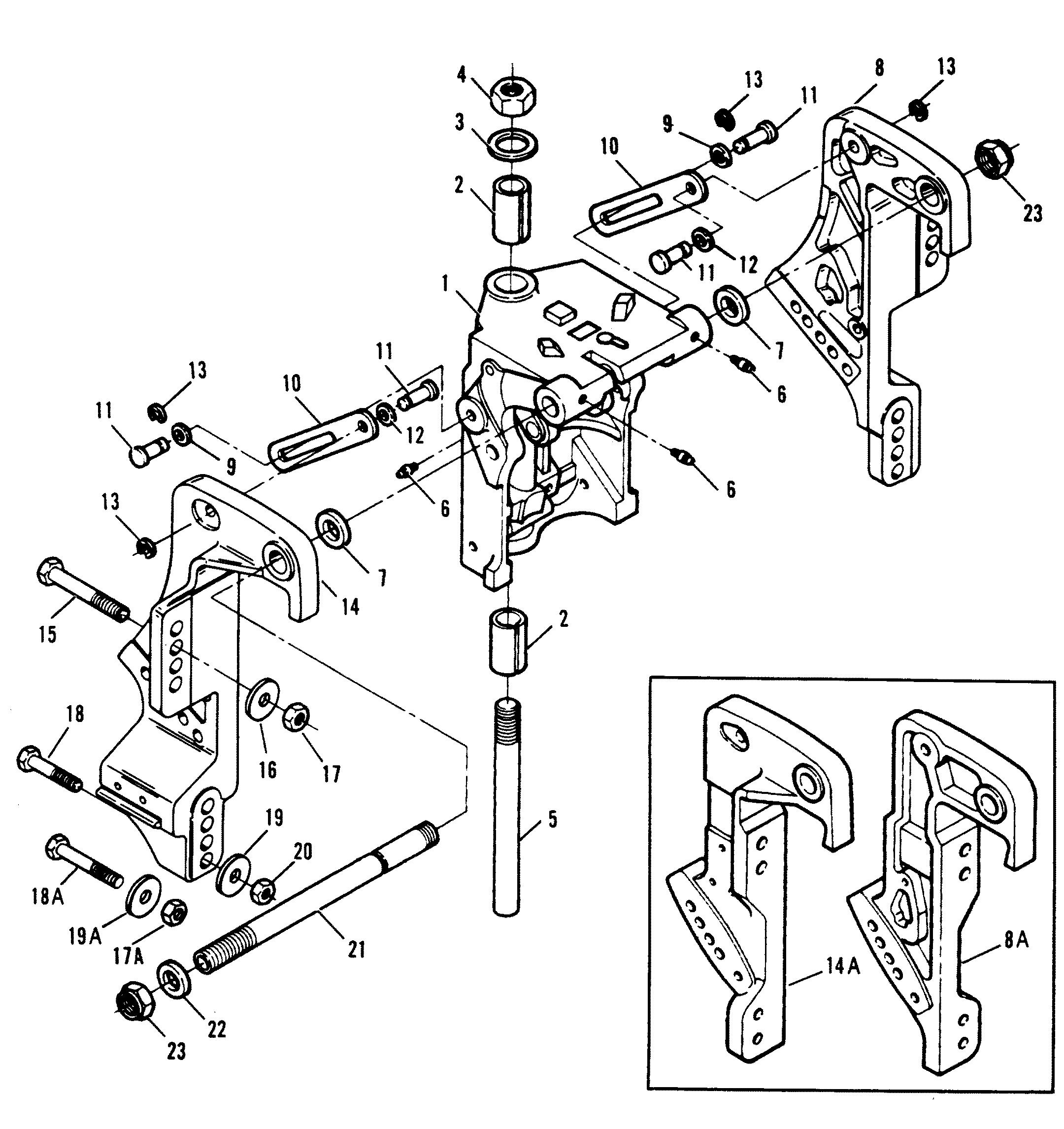 Mercury | FORCE | 40 H.P. (1992-1994) | 1992-C | SWIVEL BRACKET/STERN  BRACKETS POWER TRIM MODELS