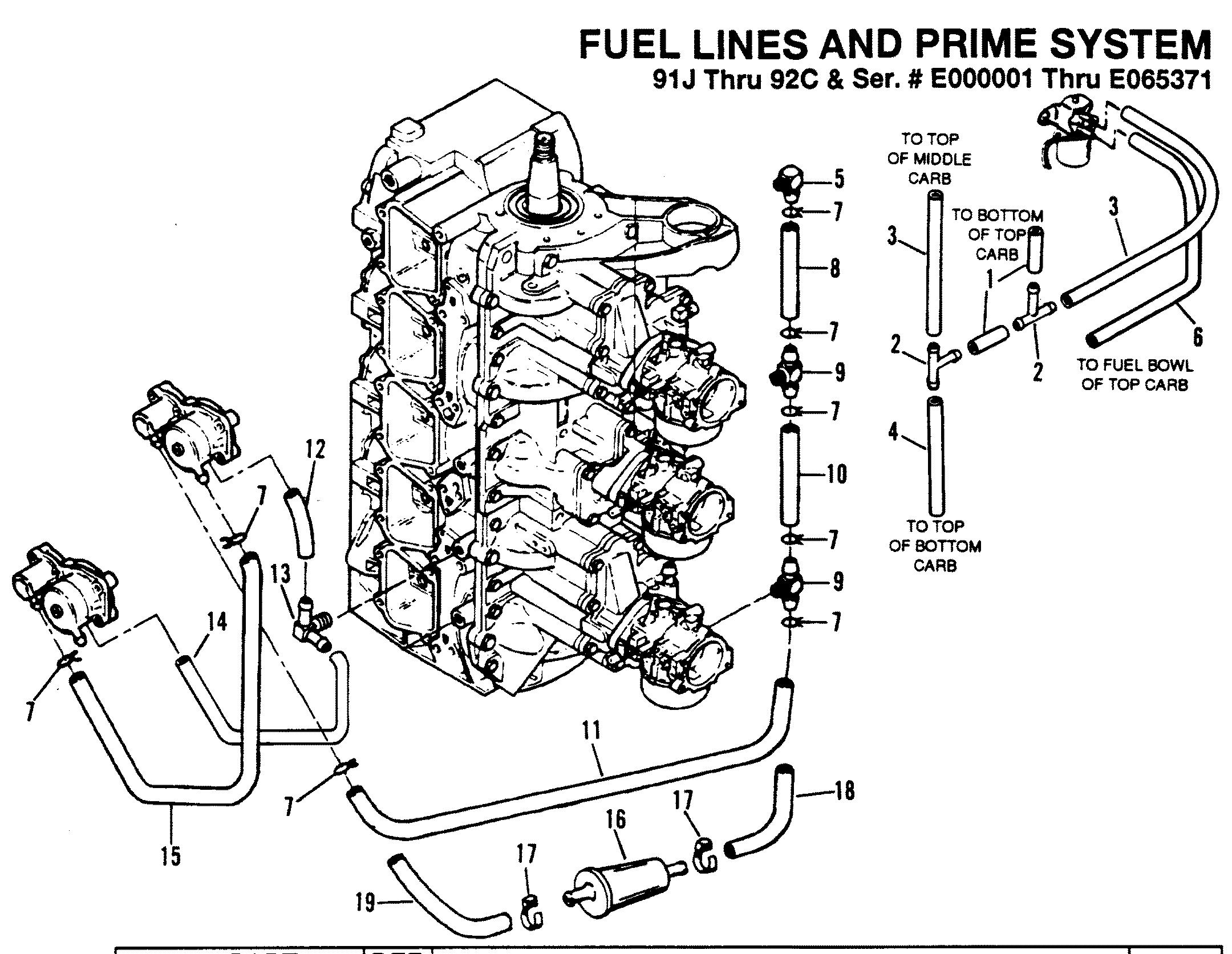 Mercury | FORCE | 150 H.P. (1989-1992) | 1989-A THRU 1992-C | FUEL PRIME  SYSTEM (91J Thru 92C - 0E000001 Thru 0E065371)