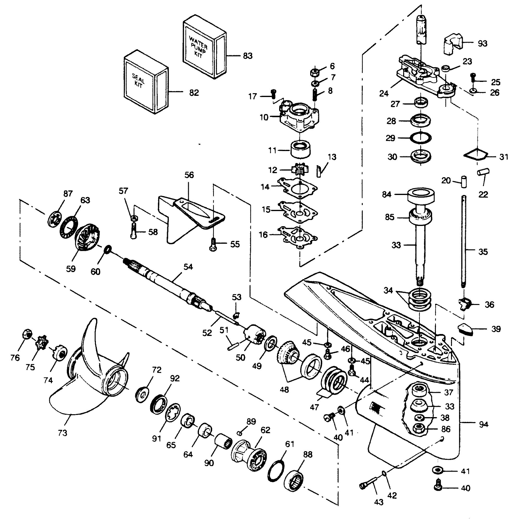 Mercury   FORCE   120 H.P. (1990 L-DRIVE)   120LD90C   GEAR HOUSING
