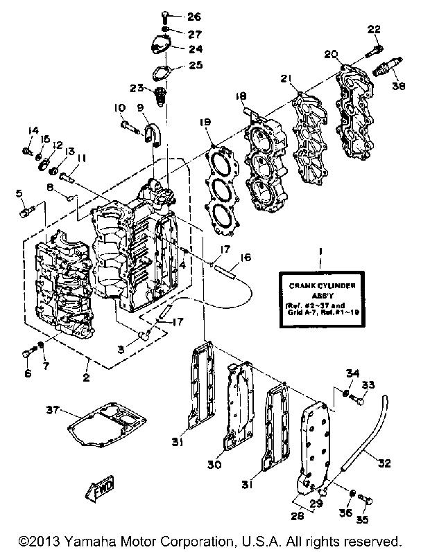 Yamaha Outboard 30 Hp 30esg Crankcase Cylinder