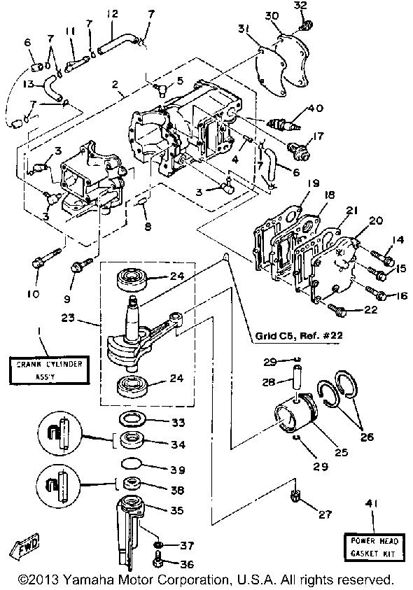 Yamaha Outboard 5 Hp 5sn Crankcase Cylinder Piston