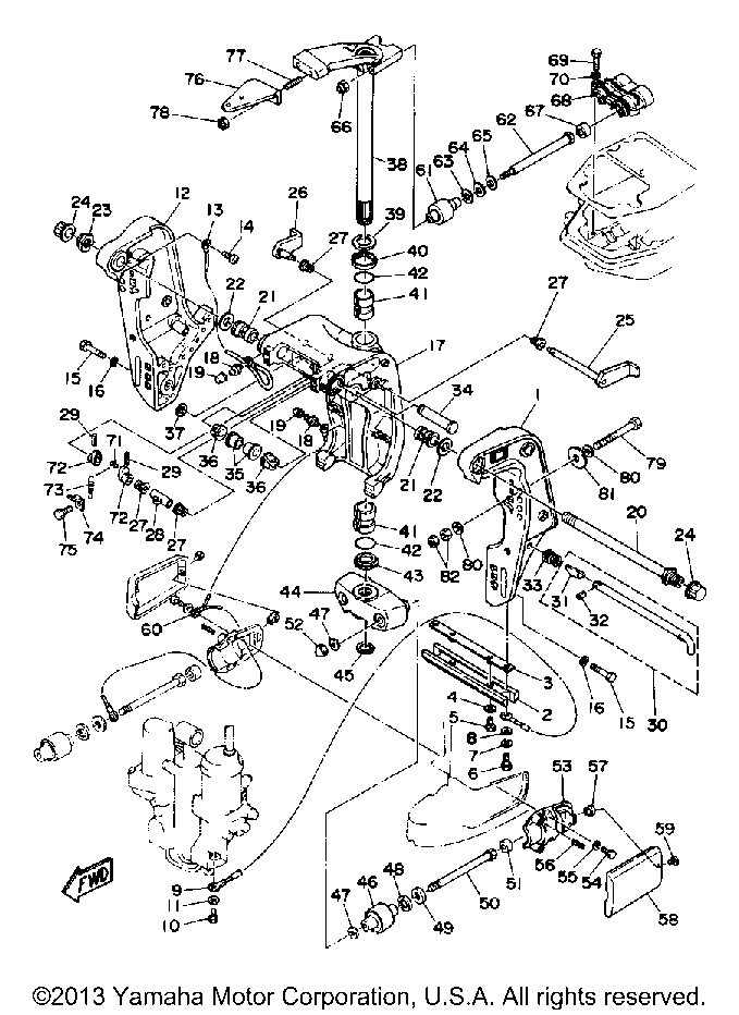 Yamaha Outboard 85 Hp C85tlrq Bracket