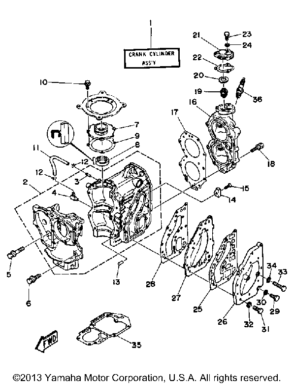 Yamaha Outboard 30 Hp Cv30eld Crankcase Cylinder