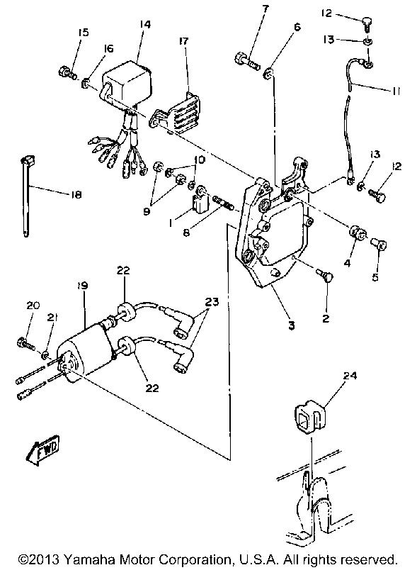 Yamaha Outboard 30 Hp Cv30eld Electric Parts 1