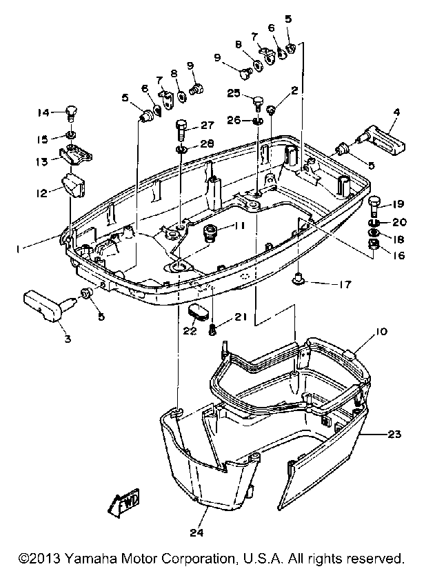 Yamaha Outboard Cv85elf Bottom Cowling