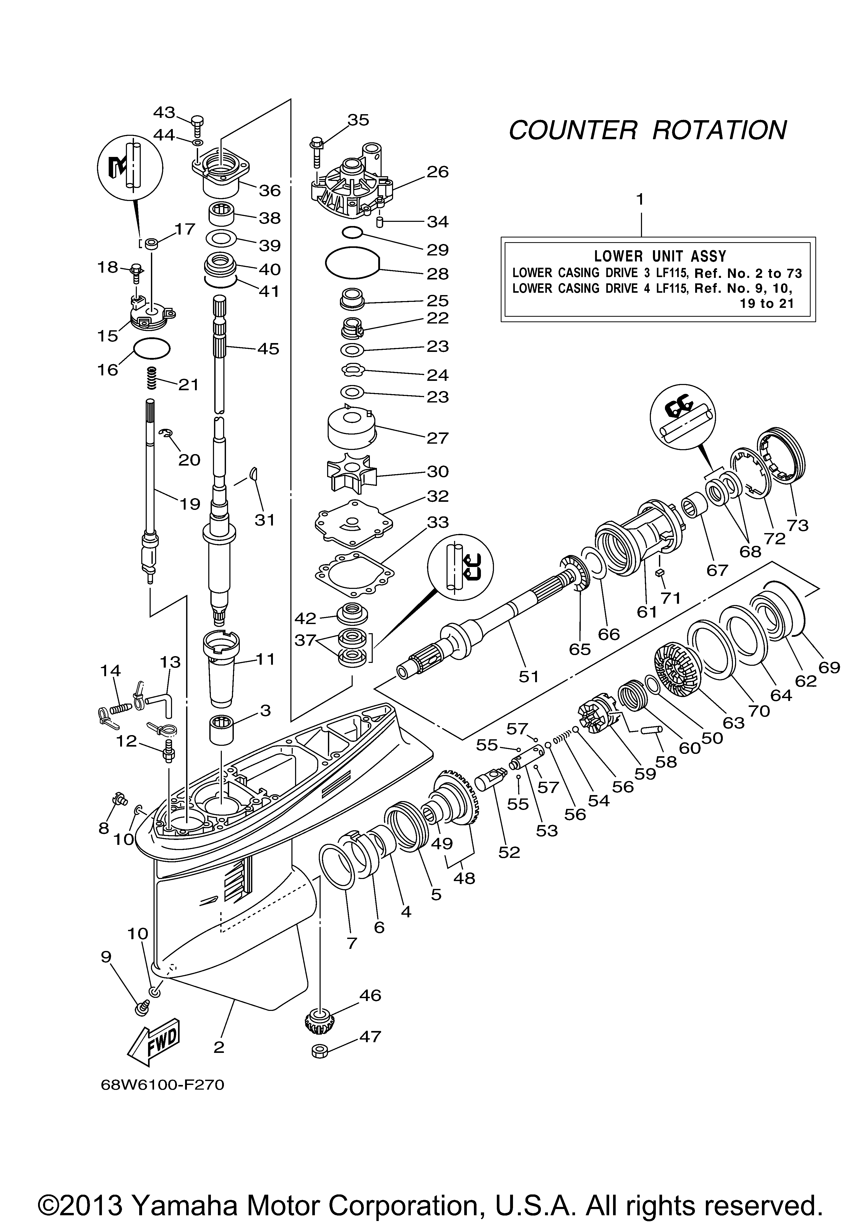 Yamaha   OUTBOARD   115 HP   F115TXR   LOWER CASING DRIVE 3 LF115