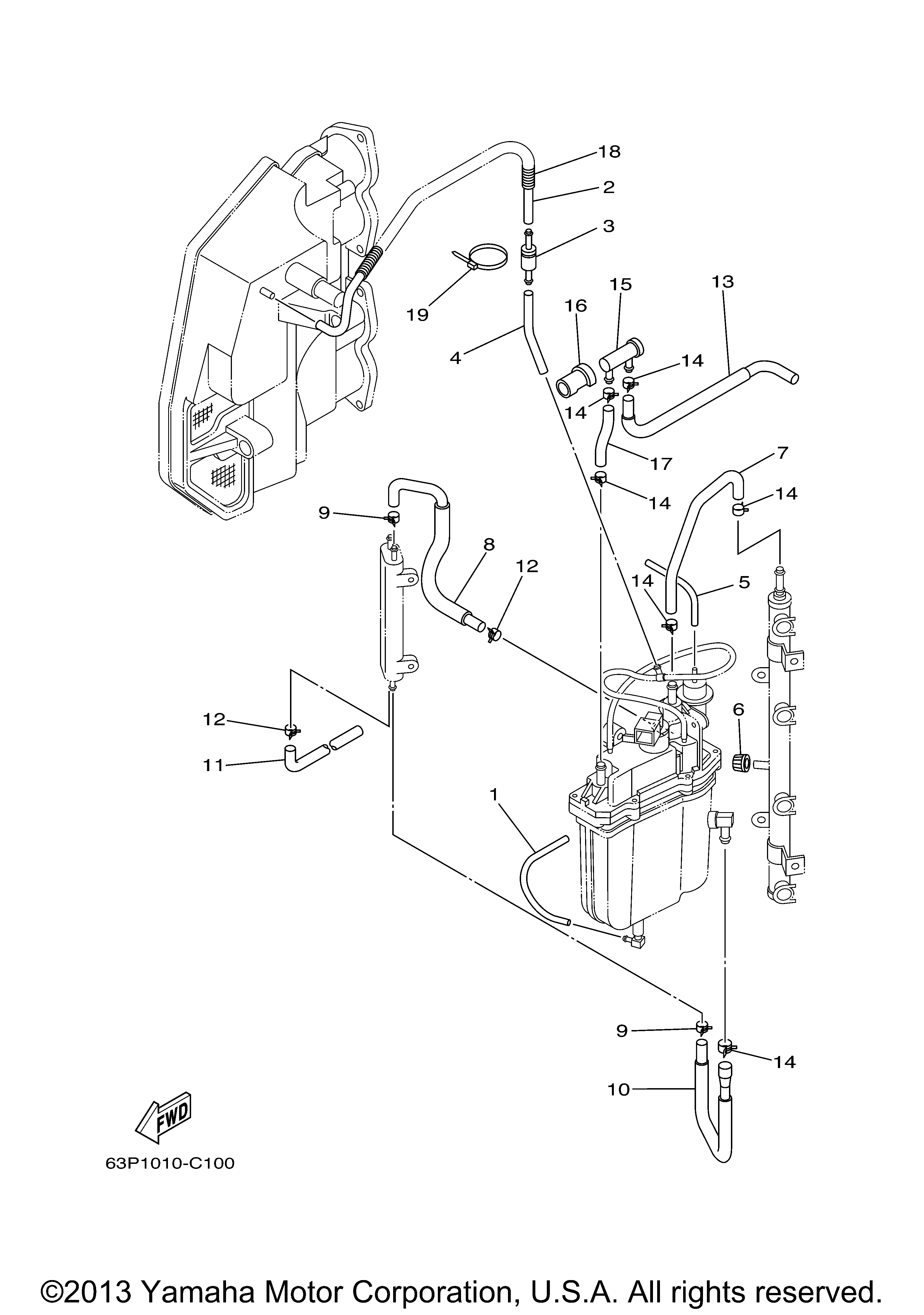 Parts of a yamaha boat motor fuel injection diagram for Trolling motor repair near me