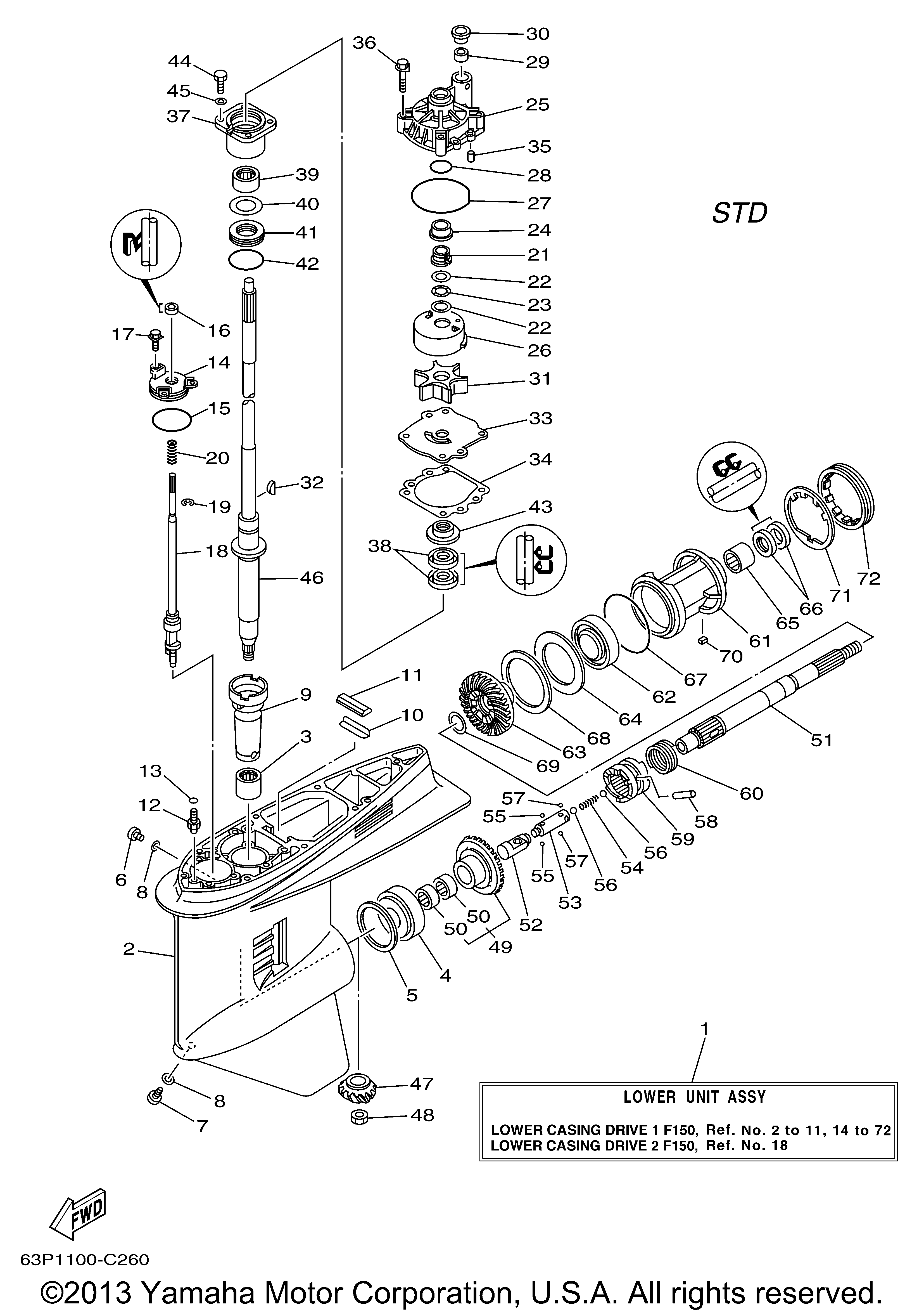 Yamaha Outboard Lower Unit Diagram Trusted Schematics 2 Stroke Carburetor F150tlrd Casing Drive 1 F150 4 Ref