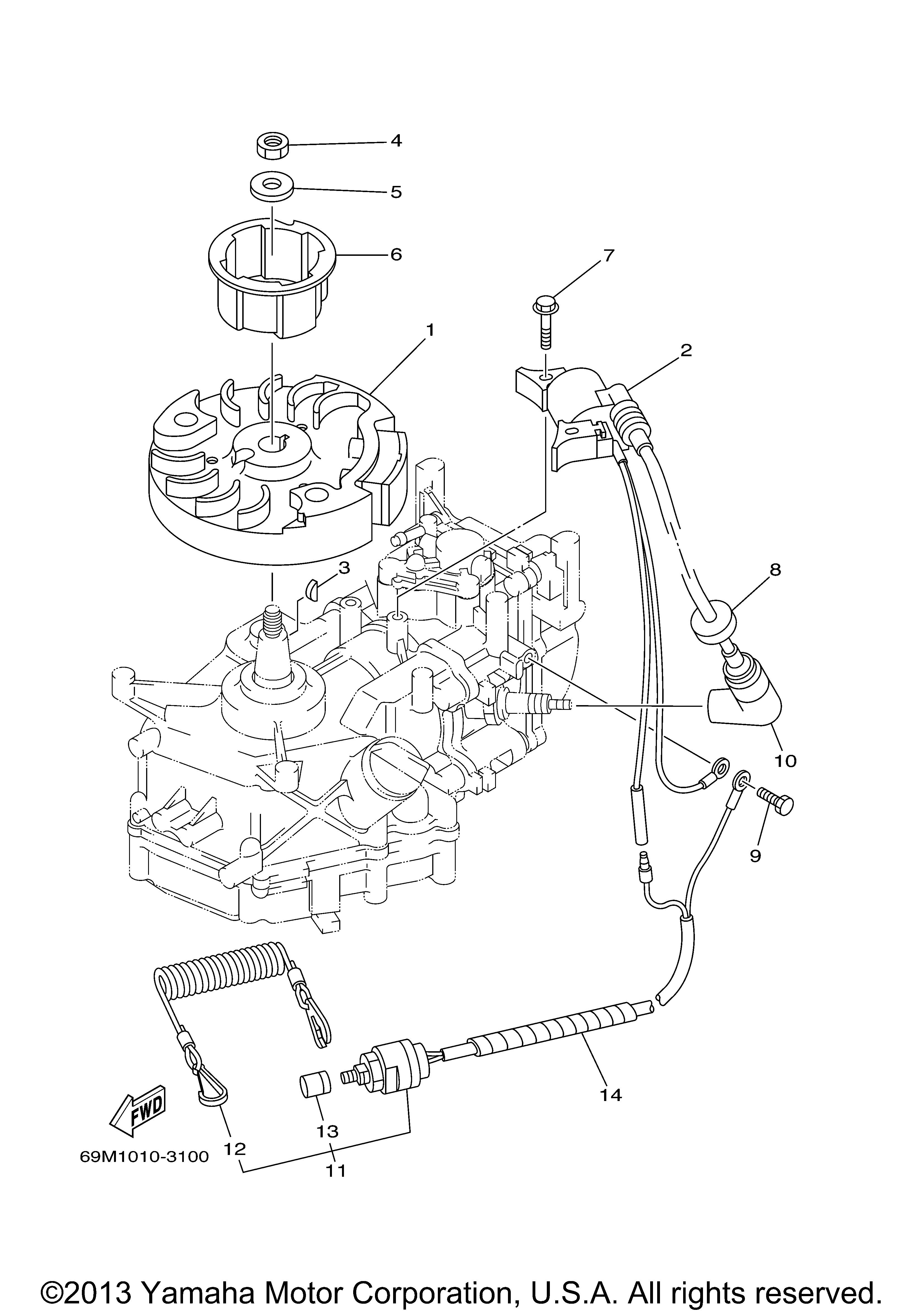 Yamaha Outboard 25 Hp F25smha 0 Generator 3100 Engine Diagram