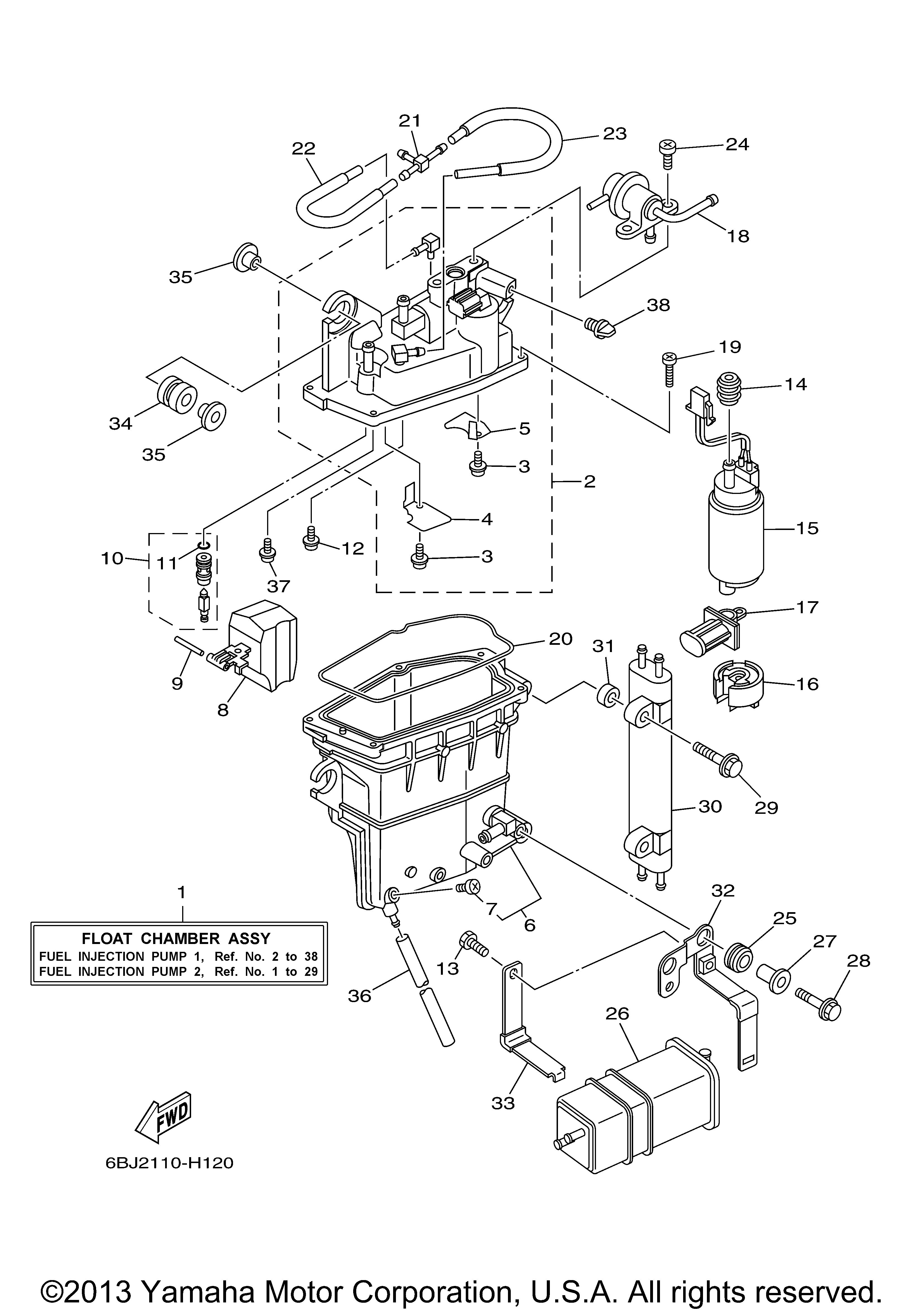 Parts of a yamaha boat motor fuel injection diagram for Electric motor parts near me