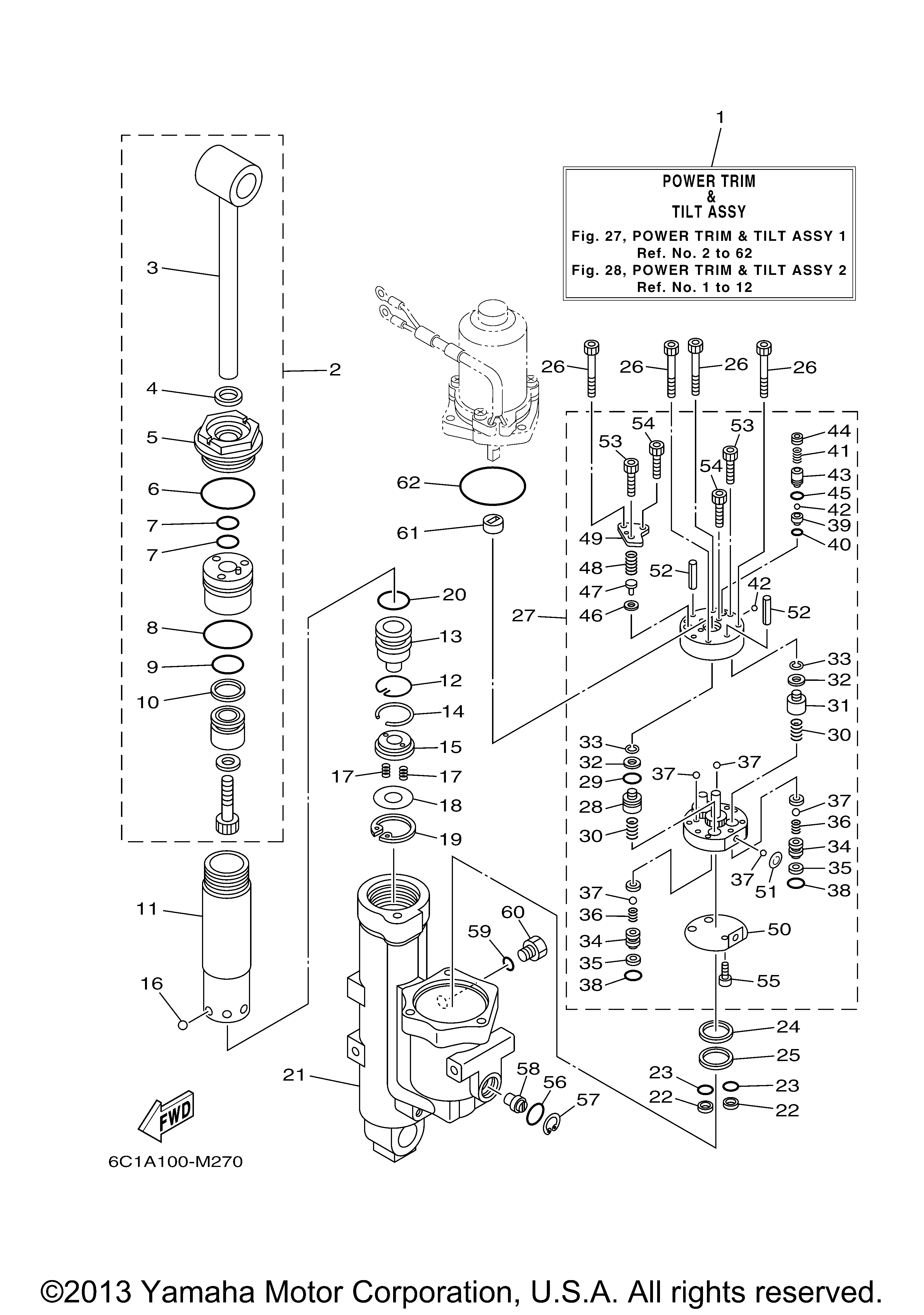 Yamaha Outboard 60 Hp F60jb Power Trim Tilt Assy 1 And Gauge Wiring Diagram Ref Description Qty Required Price