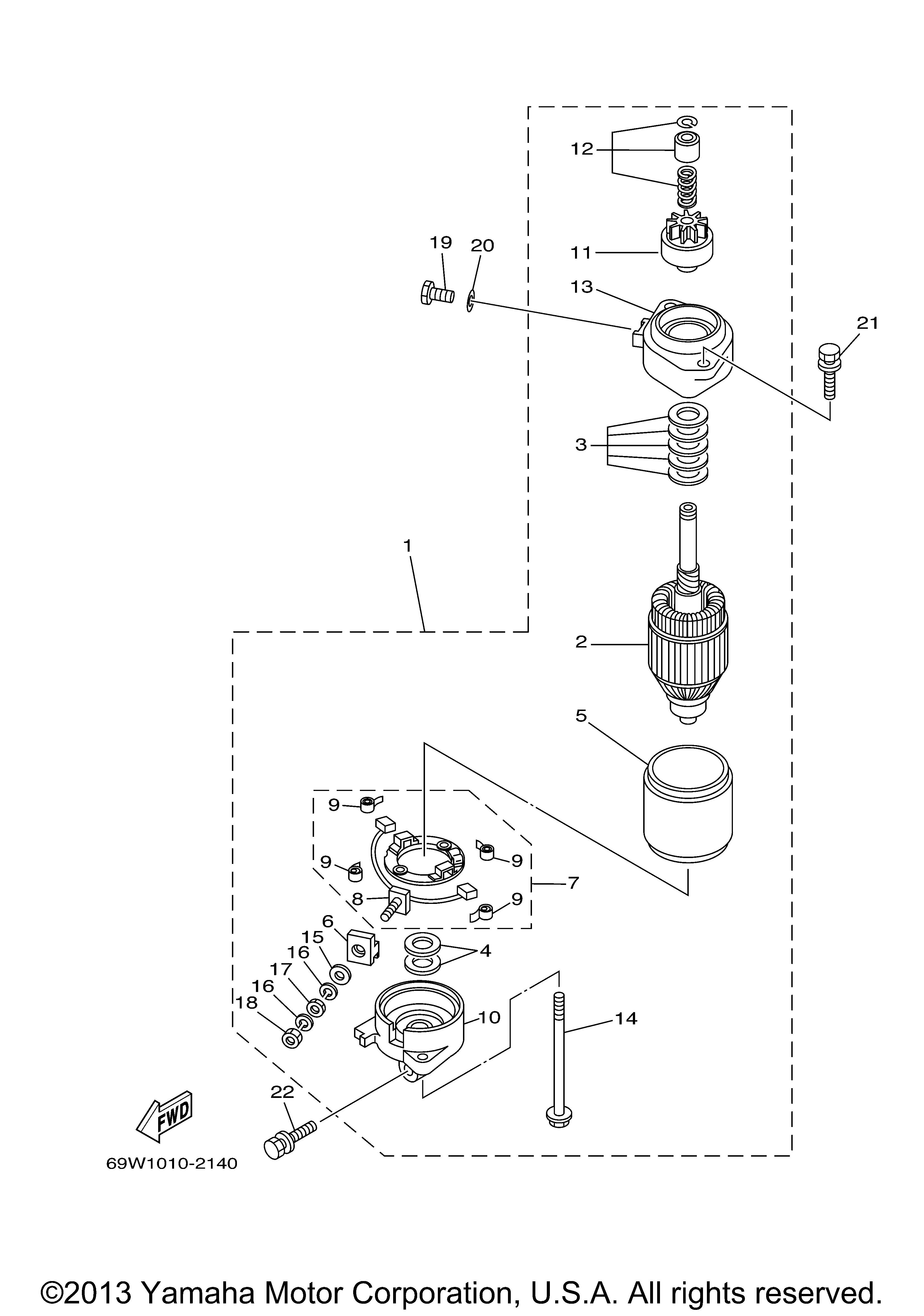 Yamaha | OUTBOARD | F60TLRA | STARTING MOTOR - Yamaha Outboard Motor