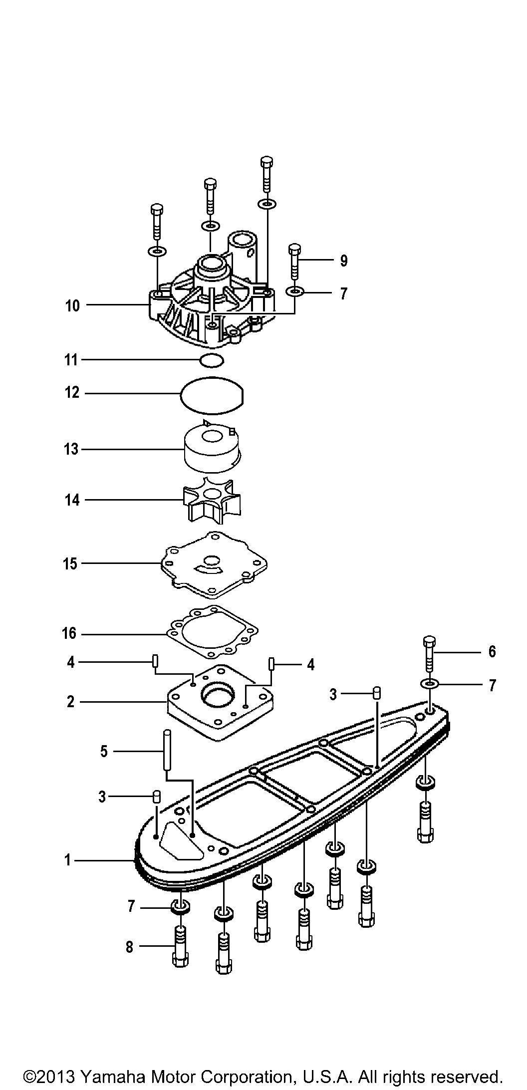 yamaha 150 outboard water pump diagram