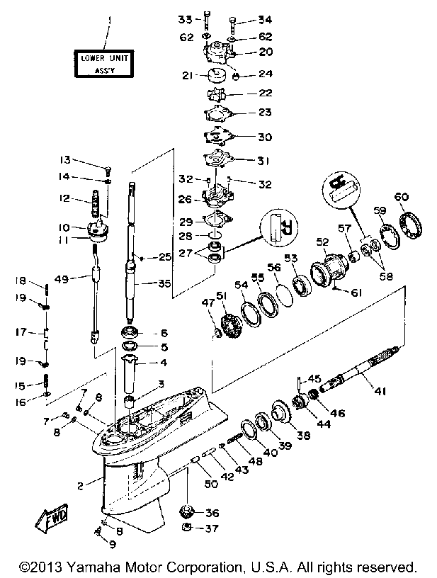 Yamaha Outboard Pro 50g Lower Drive 1