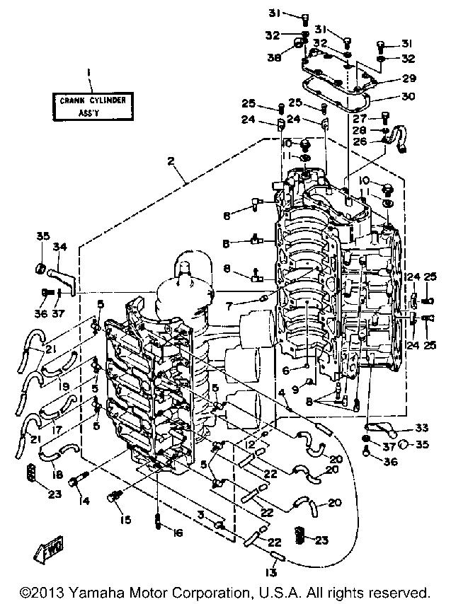 Yamaha Outboard V6 Excel F Crankcase Cylinder 1