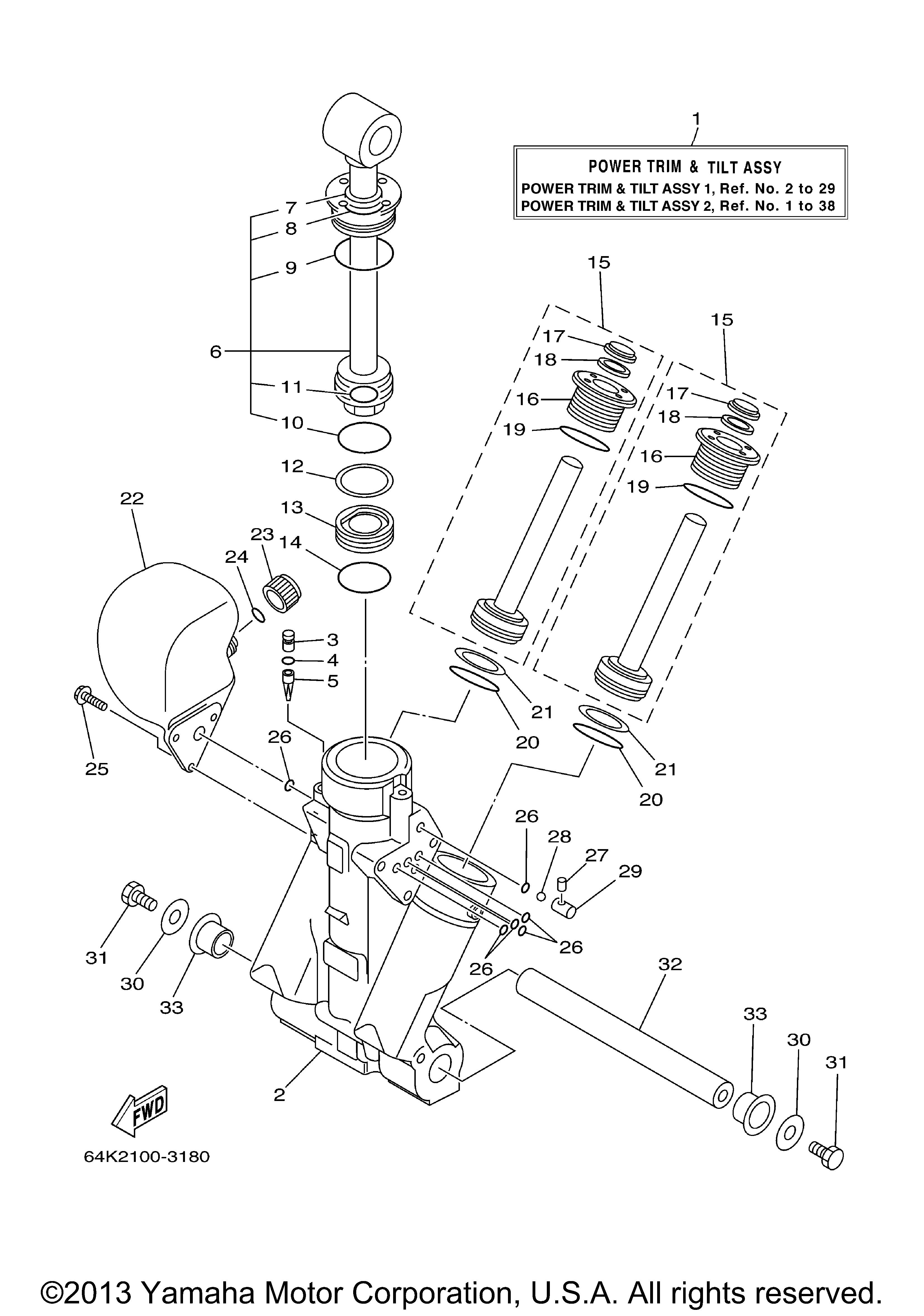 Yamaha | OUTBOARD | VZ225TLRC 250TLRC | POWER TRIM TILT ASSY 1 ...