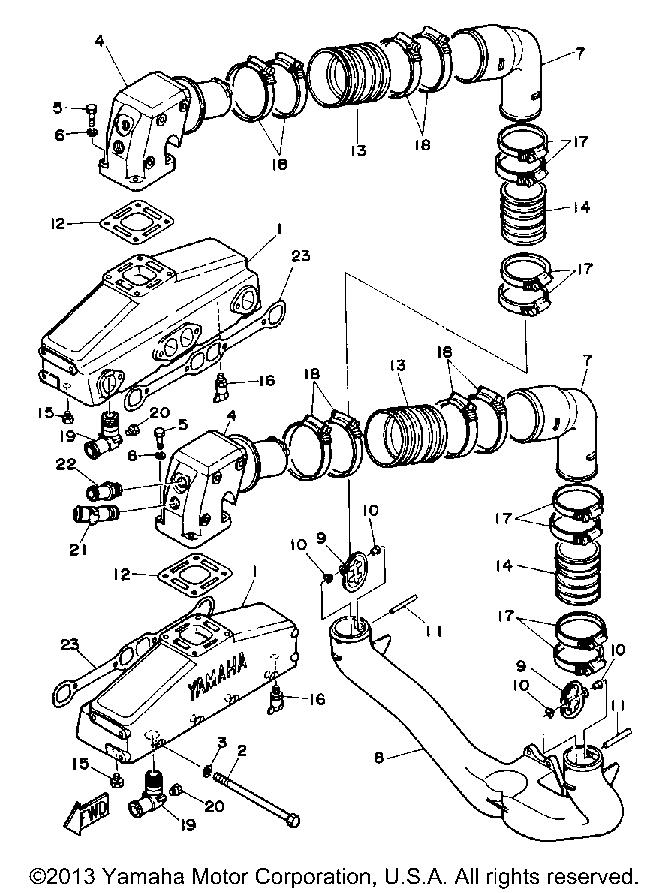 Yamaha Sterndrive Engine V8 5 0 Yems Exhaust System
